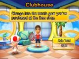 In de winkel kun je allerlei kleren en rackets kopen voor je personage!
