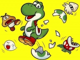 Het hoofdpersonage in dit spel is de schattige groene dinosaurus Yoshi.