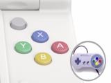 De ABXY-knoppen hebben de kleur van de knoppen op de klassieke SNES-controller.
