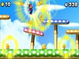 Mario springt door de Gold Ring en de vijanden worden goud!