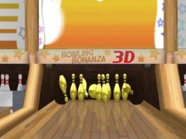 In dit spel kun je met gouden kegels bowlen. Het zal wel zwaar zijn.