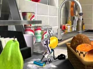 Chibi-Robo helpt je dat hardnekkige frituurvet te verwijderen!