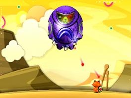Die grote paarse bol ziet er niet vriendelijk uit...
