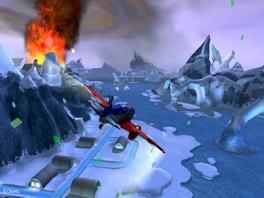 Brrr... Zo koud. Laat ik eens boven die vulkaan gaan vliegen. Of laat ik dat maar niet doen.