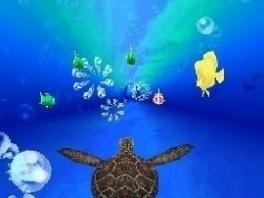 De game bestaat uit verschillende minigames, zoals deze race tegen de zeeschildpadden!