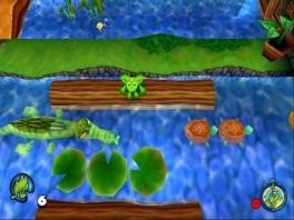 Eh, Frogger? Je kunt gewoon zwemmen, dat weet je toch?