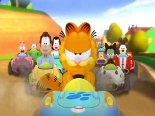 Garfield heeft zijn vrienden opgetrommeld om samen te karten.