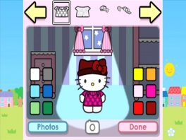 Kies welke outfit Hello Kitty aan mag en geef het een leuk kleurtje.