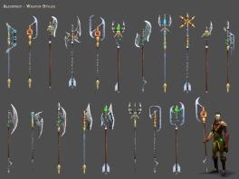 Er zijn heel veel soorten wapens, waaronder zwaarden en bijlen.