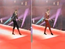 Zie hier twee catwalkmodellen in dezelfde identieke pose.
