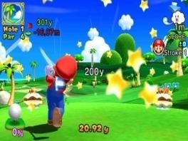 Heel veel info in beeld, maar het belangrijkste: Mario maakt een mooie slag en gaat voor de birdie!