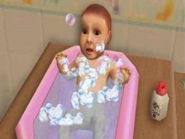 Aan de uitdrukking van deze baby is af te lezen dat hij doodsbang is voor schuim.