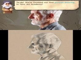 Ook kun je deze oude meneer na proberen te tekenen. Uiteraard wel hulp van een andere oude meneer.