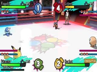 Ook is er een modus waarin vier Pokémon tegen elkaar vechten.