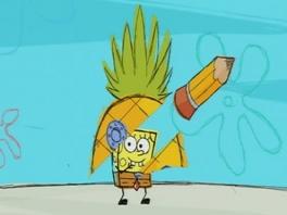 Wie woont in een ananas diep in de zee? Spongebob niet, want die van hem heb je net uitgegumd...