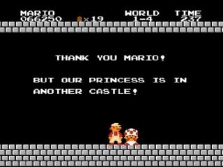 in de plaats van te vertellen waar peach is stuurt Toad ons naar een ander kasteel... ZEVEN KEER!