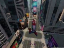 Wacht, hij zwaait midden in een brede winkelstraat... waar zit zijn web aan vast?