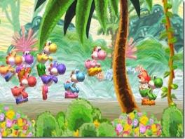 In deze game red je Baby Mario als verschillende gekleurde Yoshis.
