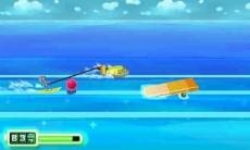 Review Chibi-Robo! Zip Lash: Naast lopen en springen zal je in sommige levels anders moeten bewegen. Waterskiënd bijvoorbeeld!